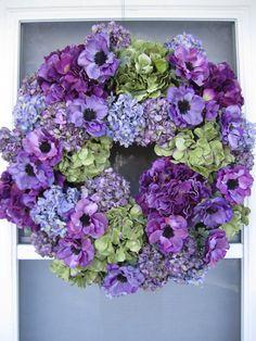 XL Handmade Purple/Green Hydrangea Floral Wreath Easter Wreath Spring Wreath Summer Wreath Front Door Wreath