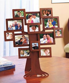 The Family Tree Photo Frame displays 13 pictures in a unique arrangement sure to stand out in any room. Photo openings in 3 sizes comprise the branches on this