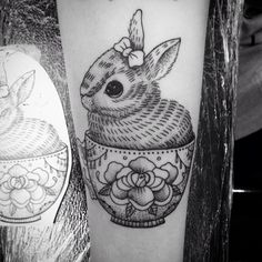 The cutest bunny for Nadine. #bunny #tattoo#vegantattoo #blackworkerssubmission…