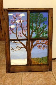 Four Seasons Painting, Four Seasons Art, Diy Canvas, Canvas Wall Art, Wooden Window Frames, Wooden Windows, Window Art, Art Plastique, Tree Art