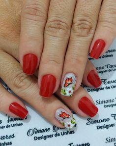 29 Modelos de Unhas com borboletas – Passo a passo Cute Nail Art, Cute Nails, Pig Nails, Manicure And Pedicure, Hair And Nails, Nail Art Designs, Finger, Tattoos, Red