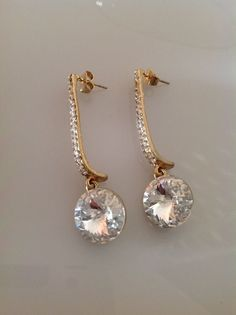 Gold earrings,crystal earrings,long earrings,gold jewelry,Crystal jewelry,earrings for women,birthday gift,gift for her by PassionByMaya on Etsy
