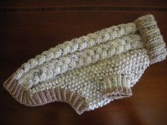 Dog Sweater  Braided Cable Knit  Oatmeal Tweed  Small