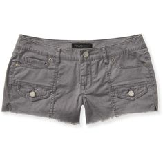 Aeropostale Color-Wash Cargo Shorty Shorts ($8.99) ❤ liked on Polyvore featuring shorts, clay grey, aéropostale, grey shorts, gray shorts, slim shorts and cotton shorts