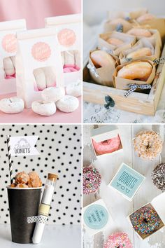 Donuts - A Sweet New Wedding Trend! Donuts are just about the hottest addition to wedding dessert world right now. From cakes to favours, it's easy to include them into your big day. Edible Wedding Favors, Wedding Favors For Guests, Unique Wedding Favors, Wedding Gifts, Party Favours, Wedding Donuts, Wedding Sweets, Wedding Table, Wedding Reception