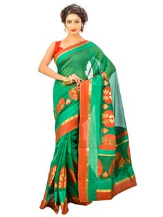 Green Color Banarasi Chanderi #SilkSaree With Indian Traditional Design And Unstitched Blouse Piece   #designersaree #indiansaree #craftshopsindia
