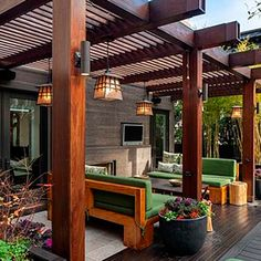Looking for pergola design and ideas for your patio or backyard landscape? Famous pergola designs are wood pergola,freestanding or attached to house one. Deck With Pergola, Wooden Pergola, Outdoor Pergola, Backyard Pergola, Patio Roof, Pergola Plans, Outdoor Rooms, Outdoor Living, Pergola Lighting