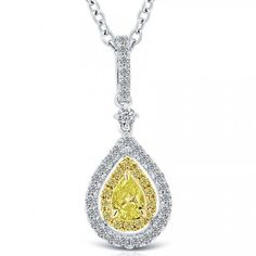 ae81c2ff5e19 0.71 Carat Fancy Yellow Pear Shape Diamond Pendant Nacklace 18k White Gold  Canary Diamond