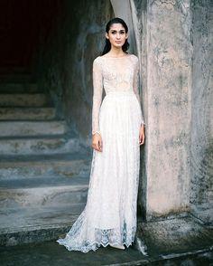 Long sleeve lace wedding dress with sheer bodice   Bramanta Wijaya Sposa's Spring/Summer 2015 Bridal Collection: Catalyst + Oblivion
