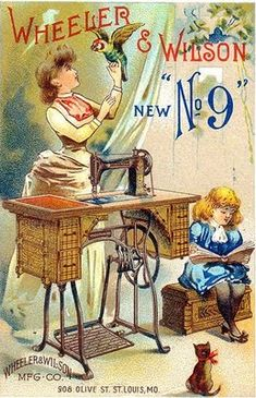 What sewing room doesn't need a parrot? :) #vintage #ad #Victorian #sewing #machine #room
