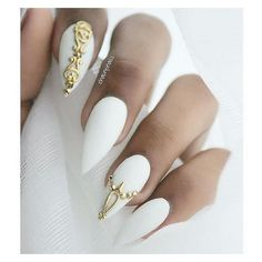 White Stiletto Nails With Gold Accents ❤ liked on Polyvore featuring beauty products, nail care and nail treatments