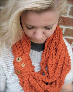 Pumpkin Orange Colored Infinity Scarf, Crochet Chain Infinity Scarf, Crochet Scarf