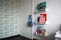 book cubbie holders (spice racks from Ikea! wonder how much there are? Ikea I, Ikea Hack, Nursery Room, Boy Room, Bekvam Ikea, Pretend Kitchen, Kids Corner, Kid Spaces, Bookshelves