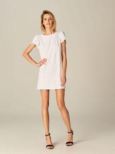 Sukienka z bufiastymi rękawami - biały - TO322-00P - Mohito - 1 White Dress, Sleeves, How To Wear, Outfits, Dresses, Fashion, Vestidos, Moda, Suits