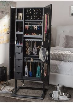 This functional jewelry armoire is the perfect accent for use in an entry, hallway, foyer, bathroom or bedroom. It has a beautiful square shaped foot for free standing stability. Diy Jewelry Mirror, Jewelry Cabinet, Jewelry Box, Silver Jewelry, Jewelry Wall, Antique Jewelry, Room Closet, Interior Modern, Home And Deco