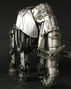 Steampunk elephant sculpture by Andrew Chase Cyberpunk, Elephant Sculpture, Elephant Art, Steampunk Kunst, Steampunk Animals, Arte Peculiar, Robot Animal, Sculpture Metal, Old Car Parts