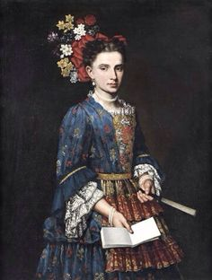 Attributed to Giacomo Ceruti, called il Pitocchetto (Italian, 1689-1767) - Portrait of a lady, three-quarter-length, in a blue embroidered dress, holding a fan - Oil on canvas