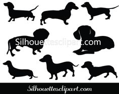 Dachshund Silhouette Clip Art Pack Download Dog Vectors