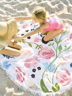 - Round towel with white tassel trim - perfect for the beach, picnics or fun in the sun! - cotton terry cloth- diameter (not including tassel trim)