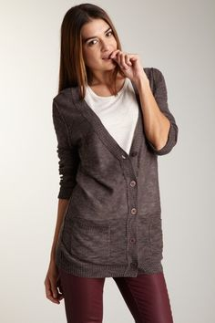 Haute look- Button Front Pocket Cardigan. V-neck  - Button front closures  - Cuffed long sleeves  - Front patch pockets  - Banded bottom hem  - Ribbed trim  - Burnout knit