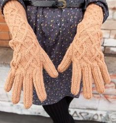 """Kelsey Gloves or Mitts Kit - priced from $33.00 to $73.99. """"Two projects from one pattern-these long cabled opera gloves include instructions to modify them for fingerless armwarmers."""""""