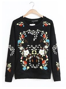 Comfortable Round Neckline Long Sleeve Embroidery Hoodie