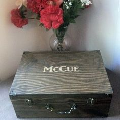 Groomsmen Gift Wooden Gift Box - Father's Day - Birthday Gift - Personalized & Stained- Best Man Gift - Engraved Top - Rustic Gift - 10.5x7.5x4