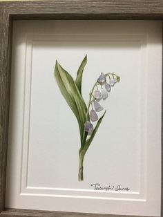 """""""lily of the valley rosea"""" sea glass art framed by me in greyshadow box as shown. Thanks for your interest! Sea Glass Crafts, Sea Glass Art, Sea Glass Jewelry, Mosaic Glass, Stain Glass Cross, Creation Deco, Glass Artwork, Glass Flowers, Art Flowers"""