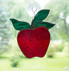 Red Apple Stained Glass Suncatcher Window Ornament Teacher Gift Kitchen Decor Hanging Decorations Garden Art Sun Catcher