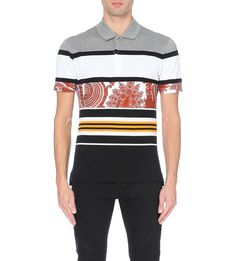 GIVENCHY Paisley striped cotton-piqué polo shirt (Grey white