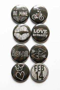 Chalkboard Valentines Flair by aflairforbuttons on Etsy, $6.00