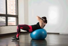 2. Stability Ball Oblique Crunches #stabilityball #abs #exercises http://greatist.com/move/abs-workout-best-stability-ball-moves-for-your-core