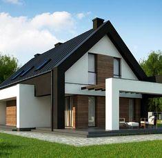 D P to wyjątkowy dom z kategorii projekty domów drewnianych Flat House Design, Modern House Design, Small House Living, Mansion Interior, Futuristic Home, Villa Design, Architect House, Modern House Plans, Facade House
