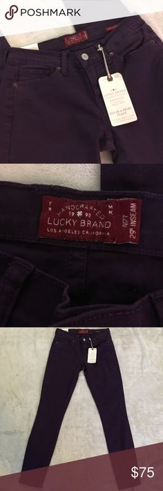 "NWT Purple lucky brand jeans - size 4 Eggplant purple Charlie super skinny handcrafted colored jeans. 29"" inseam. Brand new with tags attached Lucky Brand Jeans Skinny"