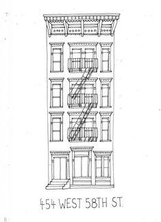 Buildings New York par James Gulliver Hancock Building Drawing, Building Sketch, Building Illustration, House Illustration, House Sketch, House Drawing, Architecture Drawing Sketchbooks, Architecture Art, Outline Drawings