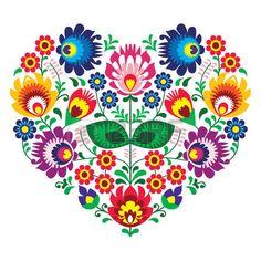 Olk polaco del arte del arte del bordado coraz�n con flores - Lowickie wzory photo