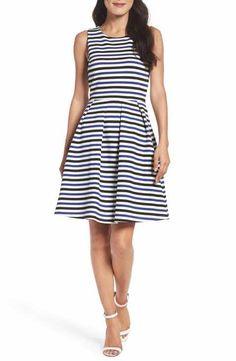 Felicity & Coco Stripe Fit & Flare Dress (Regular & Petite)