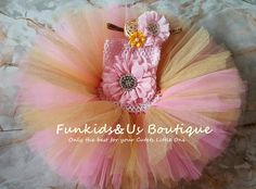 Pink Gold Glittery Tutu Dress Pink and by FunkidsandUsBoutique