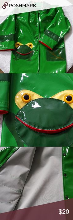 Kidorable Frog Raincoat and Rainboot 4T/5T Long sleeved raincoat with hood and two pockets. Snap closure. Lightly lined. Slip on frog rainboot with textured bottoms for grip to prevent slipping. Lightly lined. Both have been worn several times and are in good condition. There are a few small pinholes on the jacket by the frog pocket, on the right sleeve and on the bottom left under the second pocket. Not very noticeable and does not effect the use of the jacket. The boots have a few scuff…