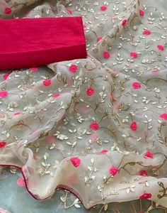 Pure organza silk saree with beautiful gotta work, saree for women, indian saree, designer saree, wedding wear saree Chiffon Saree, Organza Saree, Hand Embroidery Dress, Embroidery Suits Design, Flower Embroidery, Saree Blouse Patterns, Saree Blouse Designs, Sari Blouse, Lehenga Designs