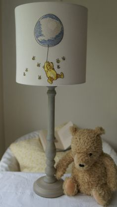 Classic winnie the pooh lampshade ceiling shade nursery babies winnie the pooh and piglet embroidered handmade nursery lampshade 20cm drum aloadofball Images
