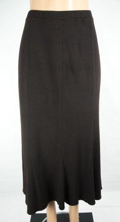 EILEEN FISHER WOMAN Skirt Plus Size 1X Brown Stretch Knit Wool #EileenFisher #StretchKnit