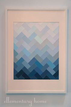 DIY Wall Art Ideas and Do It Yourself Wall Decor for Living Room, Bedroom, Bathroom, Teen Rooms | DIY Paint Chip Ombre Herringbone | Cheap Ideas for Those On A Budget. Paint Awesome Hanging Pictures With These Easy Step By Step Tutorials and Projects | http://diyjoy.com/diy-wall-art-decor-ideas