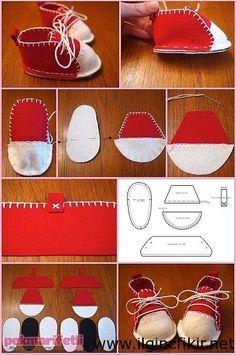 keçeden converse bebek ayakkabı yapımı