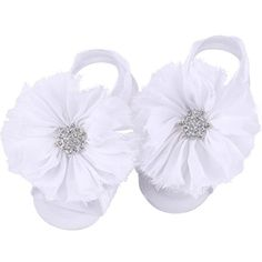 0118f92fc Amazon.com   FEITONG 2016 1Pair Infant Pearl Chiffon Barefoot Toddler Foot  Flower Beach Sandals (White)   Baby
