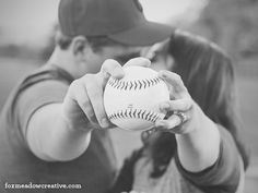 Baseball theme engagement photography