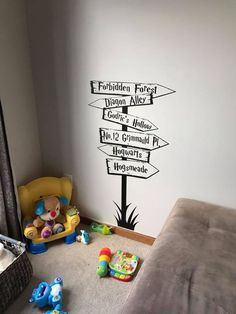 Harry Potter Directional Sign wall decal- how awesome is this? If you are a lover of Harry & The Gang check out this adorable wall decal sign with places like Hogwarts, the Forbidden Forest and Diagon Alley! You can even make your own if you want different places or themes! Lord of the Rings, Winnie the Pooh, etc!