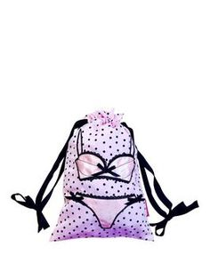 Made from luxurious satin, this pink drawstring bag with black sports and embroidered lingerie design is a stylish way to travel and store your delicates. Satin Lingerie, Quirky Gifts, Designer Lingerie, Shopper Bag, Black Spot, Black Satin, Travel Bag, Purses And Bags, Kids Fashion
