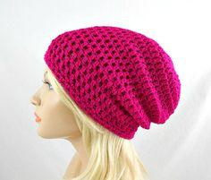 Neon Fuschia Slouchy Beanie Womens Crochet Slouch Hat Hot Fuschia Pink Winter Hat Neon Pink Crochet Beanie #handmadeholiday #gifts