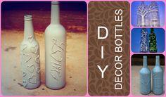 DIY - Decor bottles  Bottles decorated with glue gun